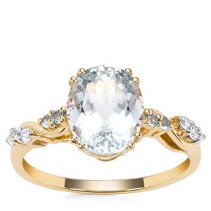 Madagascan Aquamarine, Swiss Blue Topaz Ring with White Zircon in 9K Gold 2.54cts