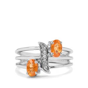 Mandarin Garnet & White Topaz Sterling Silver Ring ATGW 1.41cts