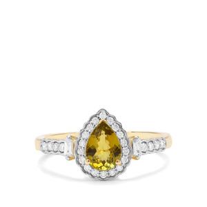 Cuprian Tourmaline & Diamond 18K Gold Tomas Rae Ring MTGW 0.98ct