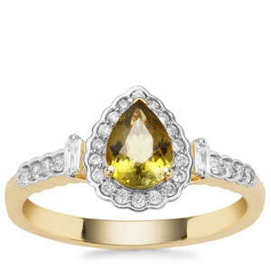 Cuprian Tourmaline Ring with Diamond in 18K Gold 0.98ct