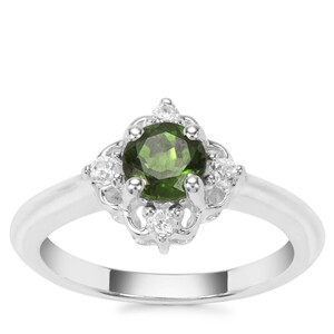 Chrome Diopside Ring with White Zircon in Sterling Silver 0.91ct