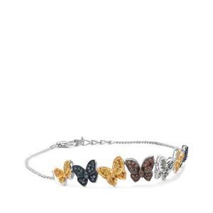 1ct Cognac, Green, Blue & Yellow Diamond Sterling Silver Bracelet