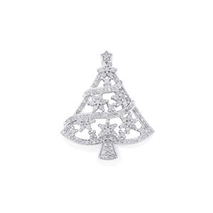 Diamond Pendant in Sterling Silver 0.75ct