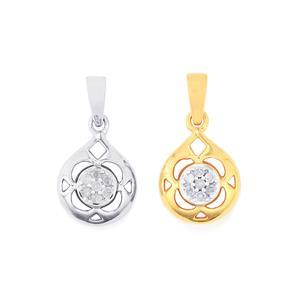 1/8ct Diamond Sterling Silver Set of 2 Pendant