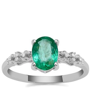 Zambian Emerald Ring with Diamond in 9K White Gold 1.20cts