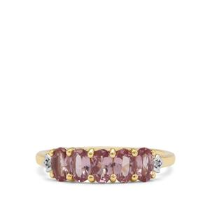 Mahenge Purple Spinel Ring with White Zircon in 9k Gold 1.40cts