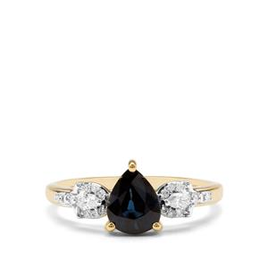 Nigerian Blue Sapphire & Diamond 18K Gold Tomas Rae Ring MTGW 1.18cts