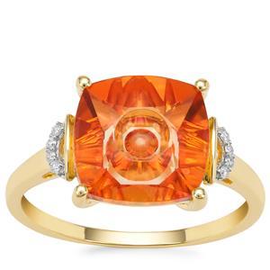 Lehrer Quasar Cut Padparadscha Quartz Ring with Diamond in 9K Gold 3.25cts
