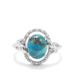 Bonita Blue Turquoise & White Zircon Sterling Silver Ring ATGW 2.93cts