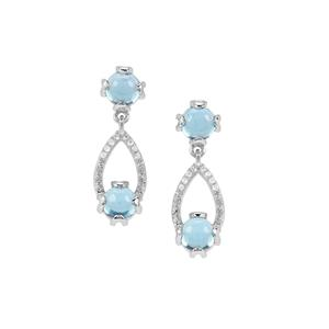 Swiss Blue Topaz Earrings with White Zircon in Sterling Silver 2.82cts