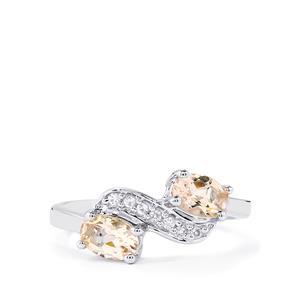 Mutala Morganite & White Topaz Sterling Silver Ring ATGW 0.85cts
