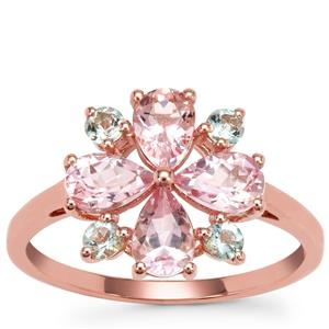 Aquaiba™ Beryl Ring with Cherry Blossom™ Morganite in 9K Rose Gold 1.64cts
