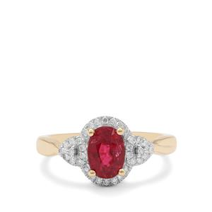 Rubellite Ring with Diamond in 18K Gold 1.31cts