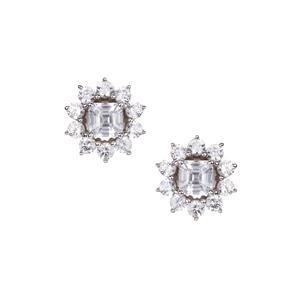 Asscher Cut Ratanakiri Zircon Earrings in 9K White Gold 3.53cts