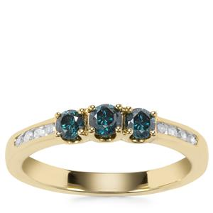 Blue Diamond Ring with White Diamond in 9K Gold 0.52ct