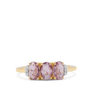 Rose Cut Purple Sapphire & White Zircon 9K Gold Ring ATGW 1.15cts