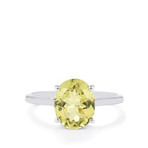 Ilakaka Natural Green Apatite Ring in 10k White Gold 2.88cts