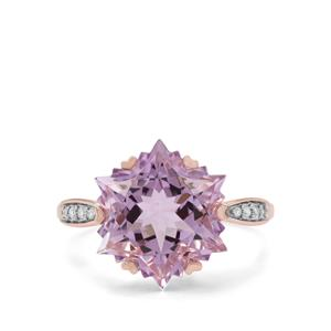 Wobito Snowflake Cut Rose De France Amethyst Ring with Diamond in 9K Rose Gold 7.20cts