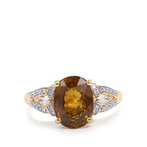 Ambilobe Sphene & Diamond 18K Gold Tomas Rae Ring MTGW 3.86cts