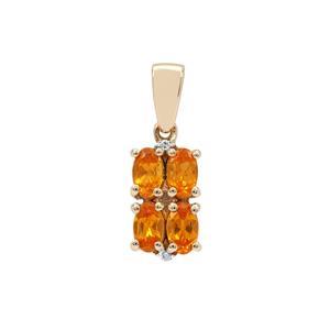 Mandarin Garnet & Diamond 9K Gold Pendant ATGW 1.20cts