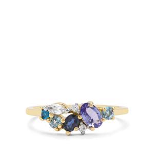 0.84ct Kaleidoscope Gemstones 9K Gold Ring