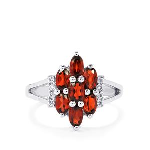 Mozambique Garnet & White Topaz Sterling Silver Ring ATGW 2.33cts