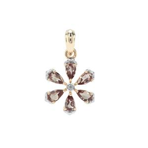 Miova Loko Garnet Pendant with White Zircon in 9K Gold 1.55cts