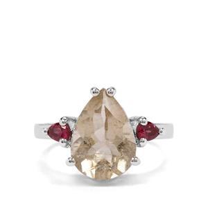 Bahia Rutilite & Rajasthan Garnet Sterling Silver Ring ATGW 5.09cts