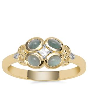 Cats Eye Alexandrite Ring with White Zircon in 9K Gold 0.66ct