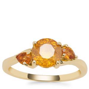 Aliva Sphalerite Ring with Diamantina Citrine in 9K Gold 2.03cts