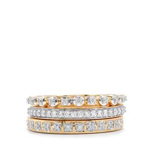 1/4ct Diamond 18K Gold Tomas Rae Set of 3 Stacker Rings