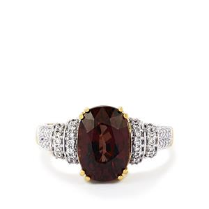 Color Change Garnet Ring with Diamond in 18k Gold 4.52cts