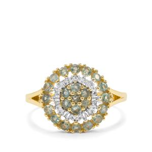Alexandrite & White Zircon 9K Gold Ring ATGW 0.68cts