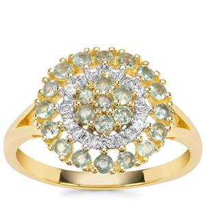 Alexandrite Ring with White Zircon in 9K Gold 0.68ct