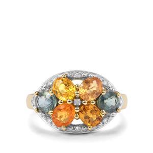 Rainbow Sapphire & Diamond 9K Gold Ring ATGW 2.88cts
