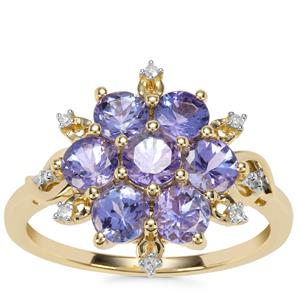 AA Tanzanite Ring with Diamond in 10K Gold 1.85cts