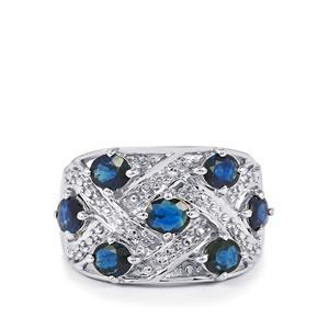 Australian Blue Sapphire & White Zircon Sterling Silver Ring ATGW 2.13cts
