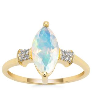 Kelayi Opal Ring with White Zircon in 9K Gold 1.07cts