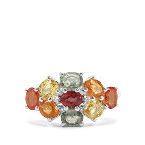 Songea Rainbow Sapphire Ring with White Zircon in Sterling Silver 2.96cts