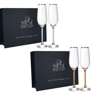 Set of 2 Champagne Glasses with Gold or Silver Leaf