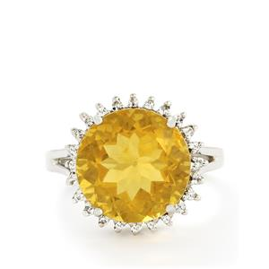 Golden Fluorite & White Topaz Sterling Silver Ring ATGW 12.00cts