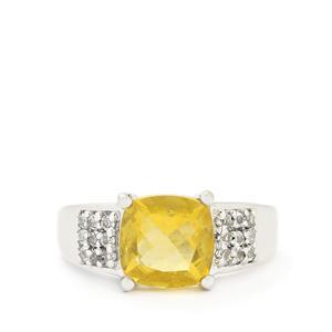 Golden Fluorite & White Topaz Sterling Silver Ring ATGW 3.83cts