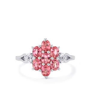 Sakaraha Pink Sapphire Ring with White Zircon in Sterling Silver 1.79cts