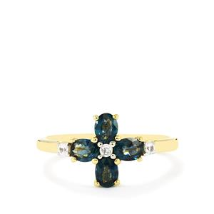 Nigerian Blue Sapphire Ring with White Zircon in 10k Gold 1.14cts