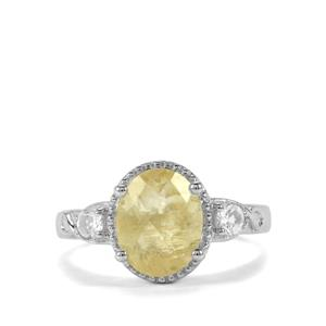 Chartreuse Sanidine & White Topaz Sterling Silver Ring ATGW 2.53cts