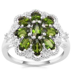 Chrome Diopside Ring with White Zircon in Sterling Silver 2.27cts