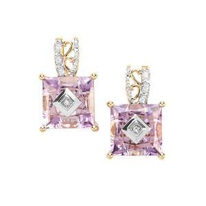 Lehrer TorusRing Ametista Amethyst Earrings with Diamond in 9K Gold 4cts