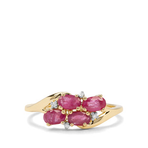 Burmese Ruby & Diamond 9K Gold Ring ATGW 1.07cts