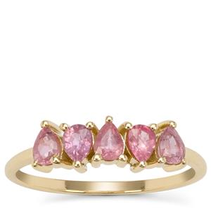 Padparadscha Sapphire Ring in 9K Gold 1.05cts