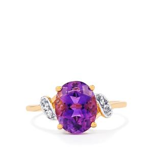 Moroccan Amethyst & White Zircon 10K Gold Ring ATGW 2.48cts